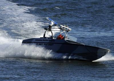 File photo: The U.S. Navy tests a fully autonomous unmanned surface vehicle in 2009 (U.S. Navy photo)