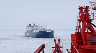 File photo: The world's first icebreaking LNG carrier Christophe de Margerie entered service in 2017 (Photo: SCF Group)