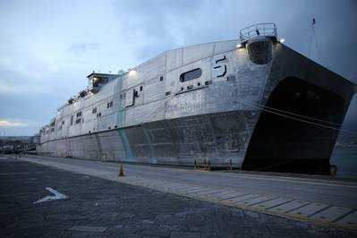 File photo: USNS Trenton (EPF 5) docked in Gaeta, Italy in 2017. (Photo by Matthew Montgomery)