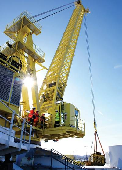 Palfinger's potential acquisition of Harding will help it be less dependent on the whims of the offshore energy markets. (Photo: Palfinger Marine)