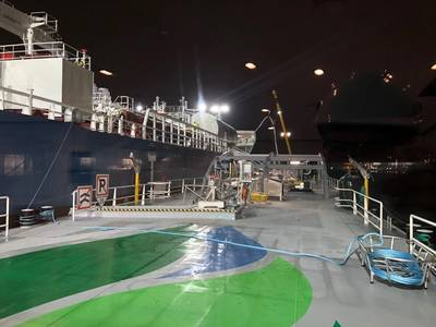 First LNG bunkering Ship to Ship in Ghent. Image: Titan LNG