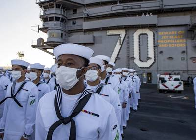Fit for the COVID Fight: Sailors stand in ranks before manning the rails of Nimitz-class nuclear aircraft carrier USS Carl Vinson (CVN 70). Photos: U.S. Navy Photo by Petty Officer 3rd Class Christian Huntington