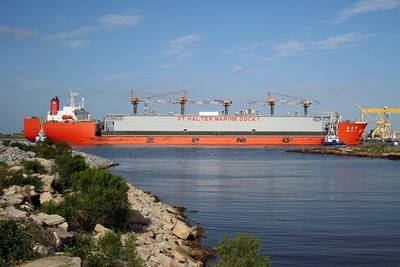 Floating Dry Dock transported by a heavy lift vessel from the Philippines arrives in Pascagoula (Photo: VT Halter Marine)