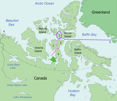Franklin's Lost Expedition Map:Image credit Wiki CCL