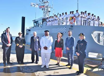 From left: Austal CEO Patrick Gregg, RADM Wendy Malcolm CSM RAN, Honorary Consul General to Kiribati Paul Wenham, Superintendent of Police and Commanding Officer of RKS Teanoai II, Tom Redfern, Ilona Wenham, Vince Connelly MP, Member for Stirling and Air Commodore Fiona Dowse, Senior Officer ADF Western Australia, with the crew of the RKS Teanoai II at Austal's Henderson Western Australia shipyard. (Photo: Austal)