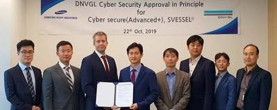 (From left): Dong Ho Park, Senior Approval Engineer DNV GL; Andreas Kristoffersen, Head of ACK, DNV GL; Jarle Coll Blomhoff, Head of Cyber Security, DNV GL; Hae Ki Jang, VP, SHI; Duck Soo Kim, Senior Engineer, SHI; Kyung Won Bae, Senior Smart Ship Engineer, SHI; Chang Ryeol Heo, Principal Engineer, SDS; Partick Jeon, Leader of Machinery & Electric Planning Parts, SHI. Photo: DNV GL