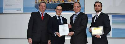 From left: Falk Bethke, Approval Engineer Electrical Systems & Automation at DNV GL – Maritime, Sven Dudszus, Head of Business & Production Management at DNV GL – Maritime, Jochen Rudolph, Managing Director at SevenCs, Marius Herzig, Product Manager at SevenCs (Photo: DNV GL)