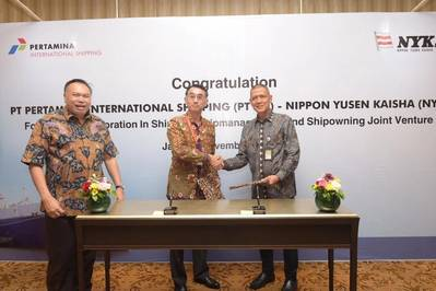 From left, Gandhi Sriwidodo, Logistic, Supply Chain and Infrastructure director, Pertamina; Akira Kono, managing corporate officer and chief executive of NYK's Energy Division, NYK; Tafkir Husni, president director, PIS. Photo: NYK