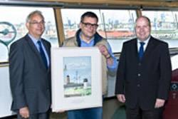 From left: Jörg Langkabel, DNV's Country Manager in Germany, Lawicki Marek, Master of the HS Chopin and Holger Bender, Sales Executive in Hamburg office.