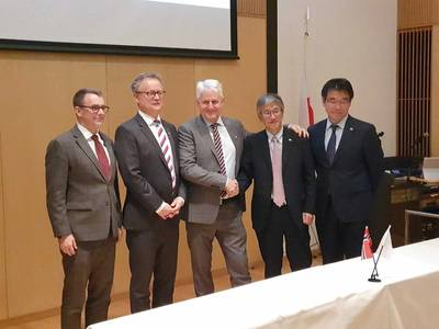 From left, Otto Malmgren, counsellor at Norwegian Embassy; Per Arve Frøyen, director of Innovation Norway Japan; Morten Lind-Olsen, CEO of Dualog; Hideki Suzuki, corporate officer at NYK; Hideyuki Ando, senior general manager of MTI. Photo: Dualog