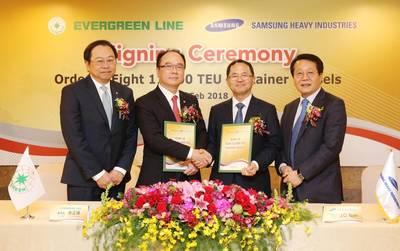 From left to right:  EMC President  Lawrence Lee; EMC Chairman  Anchor Chang; SHI CEO  J.O. Nam; SHI CMO  K.H. Kim (Photo: EMC)