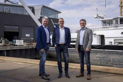 From left to right: Gerard Deen, Inland Navigation Entrepreneur, Deen Shipping Group; Tom Boerema, Director, Shipping Technology; and Leendert-Jan Visser, Director, Comfort Vermogensbeheer (Photo: Concordia Damen)