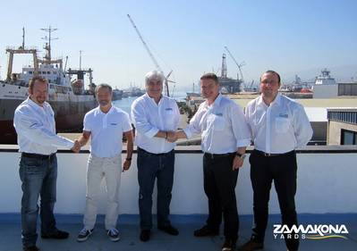 From left to right: Harry Waters, Managing Director of Subsea Masters; Álvaro Garaygordóbil, CEO Zamakona Yards Canarias; Borja Garaygordóbil, Managing Director Zamakona Yards Canarias; David Fletcher, Managing Director GEV Offshore and James Rothwell, Project Engineer GEV Offshore (Photo: Zamakona Yards)