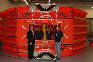 From left to right: Tim Ryan, General Manager Southeast USA and Caribbean -  Giovanni Alvarado, Liferaft Technician -  Luciano Scandrglio, Liferaft Technician -  Boris Medich, Southeast USA Liferaft Manager