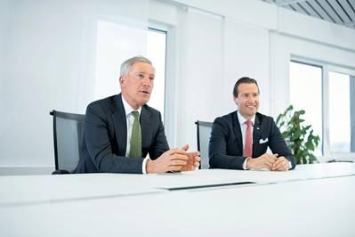From left: Wilhelmsen's Jan Eyvin Wang (Executive VP New Energy) and Espen Gjerde (VP Strategy and M&A). Photo: Wilhelmsen Group/Hans Fredrik Asbjørnsen.