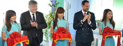 From the opening of the Vietnam office March 21 2014. His Royal Highness Crown Prince Haakon of Norway and Henrik O. Madsen, Group President & CEO, DNV GL.