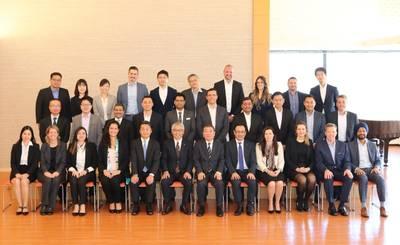 Front row, sixth from left, NYK director and senior managing corporate officer Yoshiyuki Yoshida; seventh, YLK director and managing executive officer Yasuhiko Ueda. Photo: NYK