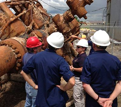 Offshore rig damage inspection:Photo credit NTSB