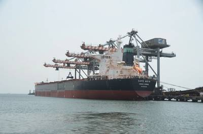 Gangavaram Port achieves record by discharging 1,56,339 metric tons of Non-Coking Coal from the vessel M.V. Cape Asia in 24 hours Photo Gangavaram Port