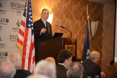 Gary LaGrange, president & CEO of the Port of New Orleans, speaks at the 29th Annual State of the Port Address hosted by International Freight Forwarders & Custom Brokers Association of New Orleans (IFFCBANO).