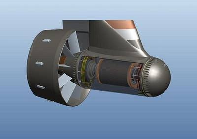 GE's Inovelis pump jet is a breakthrough in electrical thruster design and provides higher efficiency over a wider range of operations and in dynamic positioning. Photo: GE
