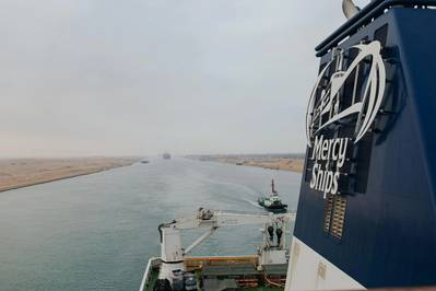 Global Mercy completed its journey through the Suez Canal, headed to the Port of Antwerp, where it will be further equipped and crewed.  The Senegalese and Egyptian governments facilitated the passage of the Global Mercy through the Suez Canal, so that the ship could pass through free of charge. Photo courtesy Mercy Ships