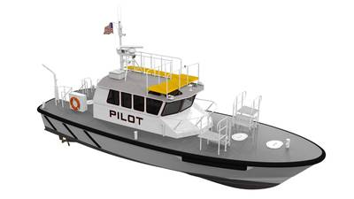 Glosten is working with Ray Hunt Design and the Canaveral Pilots Association on a pilot/demonstration project for the design, construction and operation of an electric pilot boat. Marking a first for a pilot boat in the U.S., the vessel will feature a battery-electric propulsion system with an emergency 'get home' diesel engine. (Image: Glosten)