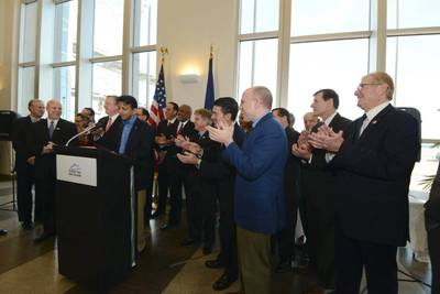 Gov. Jindal at a press conference Wednesday afternoon at the Port of New Orleans Administration Building, joined by ISH President Erik Johnsen (left of Gov. Jindal) New Orleans Mayor Mitch Landrieu (to the left of Johnsen), Port of New Orleans President and CEO Gary LaGrange (far right), Louisiana Secretary of Economic Development Stephen Moret (to the left of LaGrange) and a host of local and state elected officials.