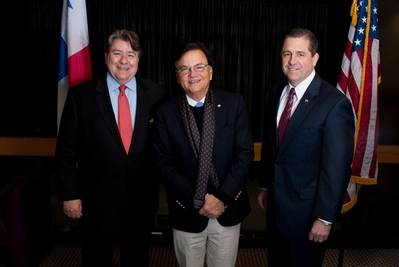 GPA Vice Chairman Stephen S. Green (at left) and Executive Director Curtis Foltz welcome Panama's Minister for Canal Affairs Roberto Roy (center) to the Port of Savannah Friday. Photo: Georgia Ports Authority