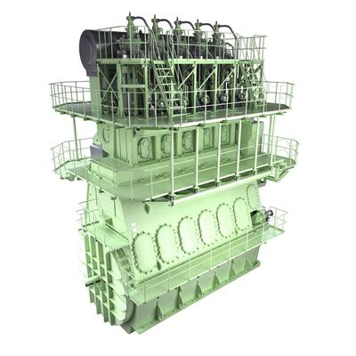 Graphical rendering of an MAN B&W 5G70ME-GI engine (Courtesy of MAN Diesel & Turbo)