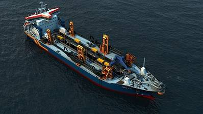 Graphical representation of the new hopper-suction dredger (courtesy Van Oord)