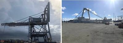 GRT successfully demolishes 180ft ship to shore crane in San Juan - before and after shots. Photo: Global Rigging and Transport (GRT)