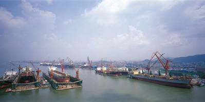 Guandong China shipyard: Photo courtesy of COSCO