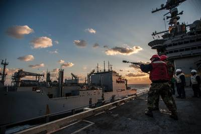 GW replenishment at sea: Photo credit USN