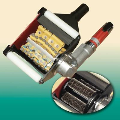 hand-held scarifier cleans and prepares steel and concrete surfaces.