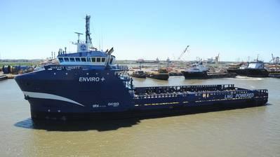 "Harvey Gulf's LNG-powered platform supply vessels achieve ""ENVIRO+, Green Passport"" Certification by the ABS (Photo: Harvey Gulf)"