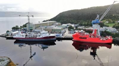 Havyard Leirvik shipyard by the Sognefjord. (Photo: Håvard Breidvik)