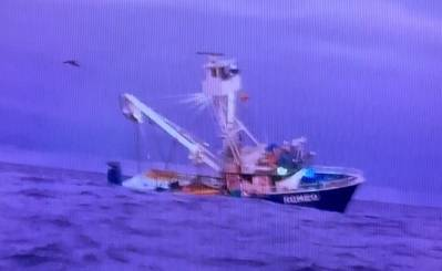 The 72-foot Ecuadorian commercial fishing vessel Romeo capsizes approximately 350 miles north of the Galapagos Islands, December 4, 2020. (Photo: U. S. Coast Guard)