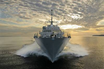 The littoral combat ship Pre-Commissioning Unit (PCU) Fort Worth (LCS 3) conducts builders trials in Lake Michigan. (U.S. Navy photo courtesy of Lockheed Martin by Michael Rote/Released)