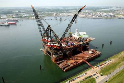 Heerema's crane vessels to switch from diesel generators to wind energy. Pic: Port of Rotterdam Authority