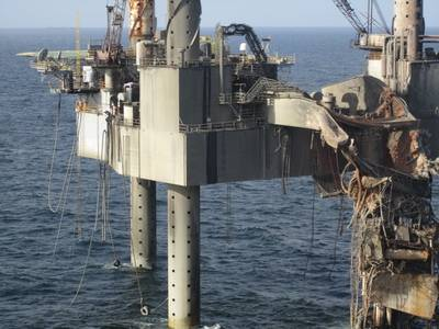 Hercules 265 Jack-up rig damage: Photo credit USCG