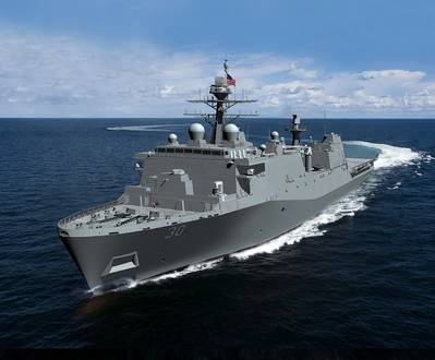 HII's Ingalls Shipbuilding division has received a $165.5 million contract to provide long-lead-time material and advance construction activities for LPD 30, the first Flight II LPD. (Rendering: HII)