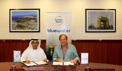 His Excellency Abdulrahman Al Saleh Chairman of Drydocks World and Mr. Hugo Heerema, President & CEO of Bluewater (Photo: Bluewater Energy Services)