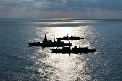 HMS Lancaster (background), HMS Dragon (middle) and HMS Argyll (foreground) partaking in Exercise Formidable Shield 2021 (Photo: Royal Navy)