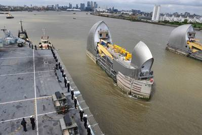 HMS Ocean Transits Thames Barrier: Photo courtesy of MOD