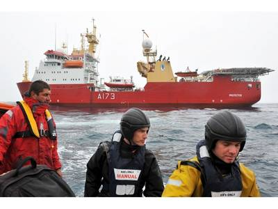 HMS Protector & Sailors: Photo credit MOD