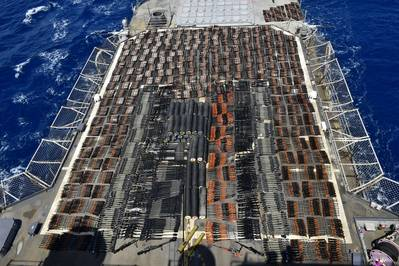 Thousands of illicit weapons interdicted by the guided-missile cruiser USS Monterey (CG 61) from a stateless dhow in international waters of the North Arabian Sea, May 8, 2021. (Photo: U.S. Navy)