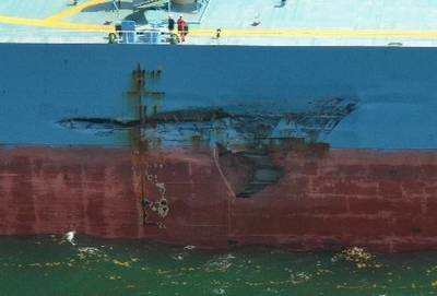 Hull collision damage: Photo credit USCG
