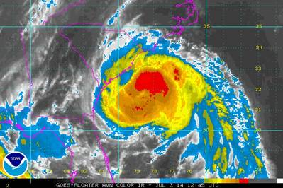 Hurricane Arhur approaches the U.S. coastline (Source: NOAA)
