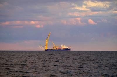 Russian pipe-laying vessel Akademik Cherskiy used for the construction of the Nord Stream 2 - Credit: Elena Krivorotova/AdobeStock